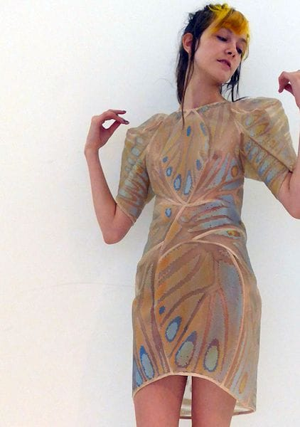 Dress made from 3D prints on fabric [Source: Stratasys]