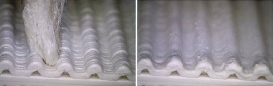 A typical manual smoothing process; the tip does not match the layers resulting in poor smoothing