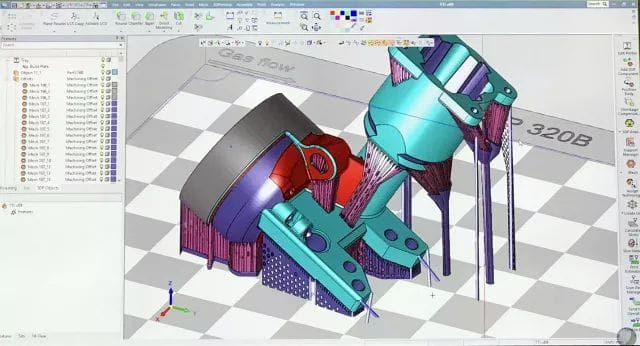 3DXpert, provided with 3D Systems metal printers, can create support structures automatically or help you optimize them, as shown here.