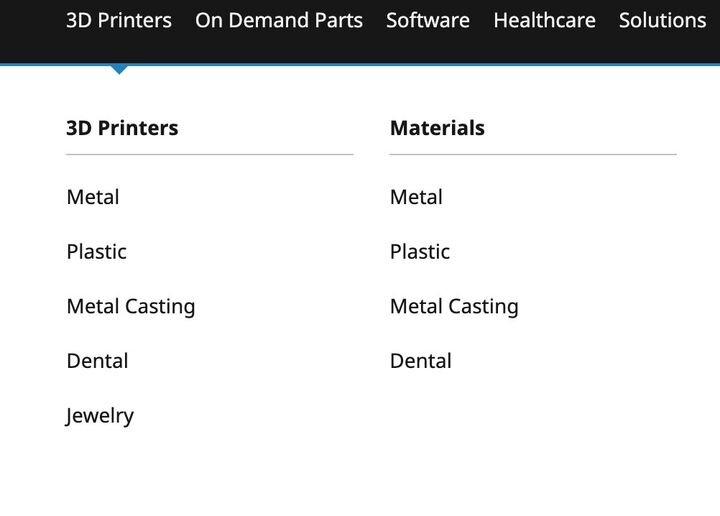 2020 list of 3D Systems' printer material types [Source: Fabbaloo]