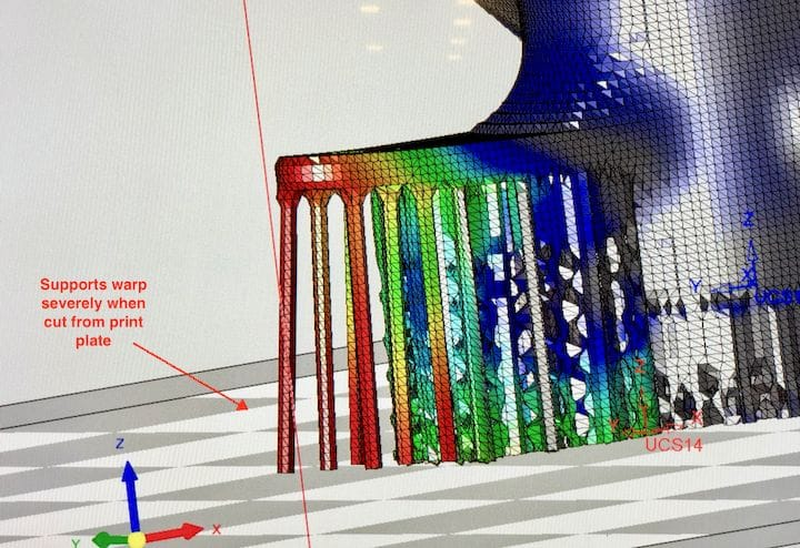 Simulation of what happens after the metal 3D print is cut from the print plate by 3DXpert [Source: Fabbaloo]