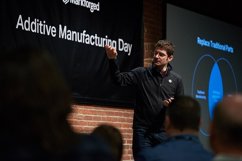 Markforged CEO Greg Mark keynoted Additive Manufacturing Day, discussing the rise of industrial 3D printing [Image: Markforged]
