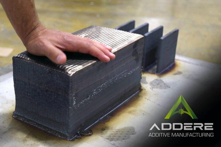 55kg titanium block 3D printed using Laser Metal Wire additive manufacturing [Source: ADDere]