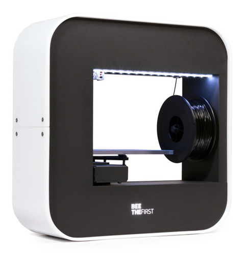 The BEETHEFIRST desktop 3D printer, with a constrained area to hold the filament spool