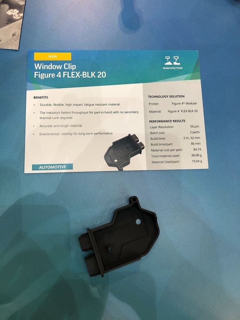 Automotive window clip 3D printed in FLEX-BLK 20 as seen at TCT Show [Image: Fabbaloo]