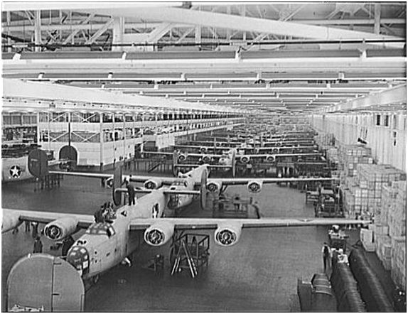 B-24 bombers at Willow Run [Source: Wikimedia ]