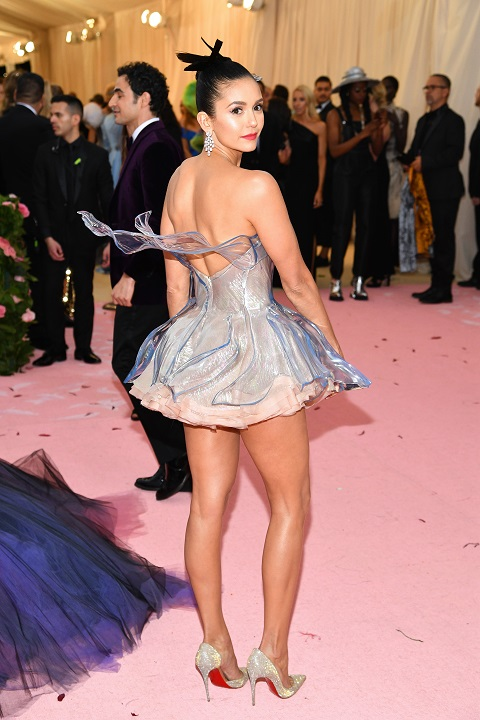 Nina Dobrev in the clear 3D printed creation [Image: Getty Images]