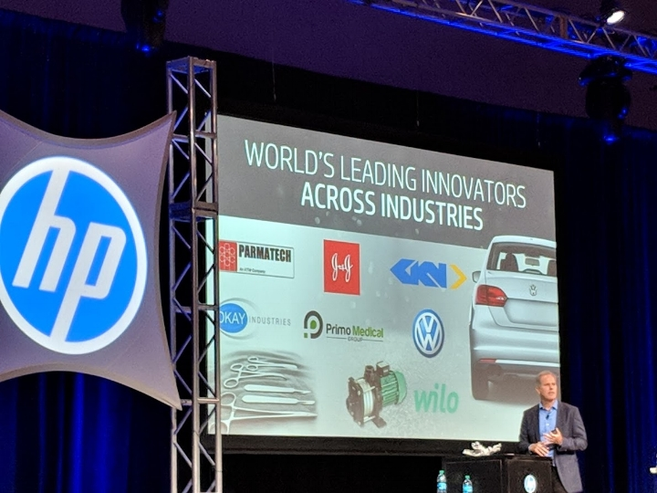Stephen Nigro, President, 3D Printing, HP Inc. in one of his final keynotes, presenting HP's Metal Jet and partners at the Additive Manufacturing Conference