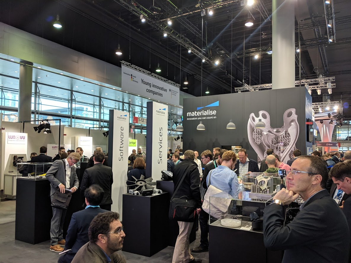 The crowded Materialise booth at formnext 2018 [Image: Fabbaloo]
