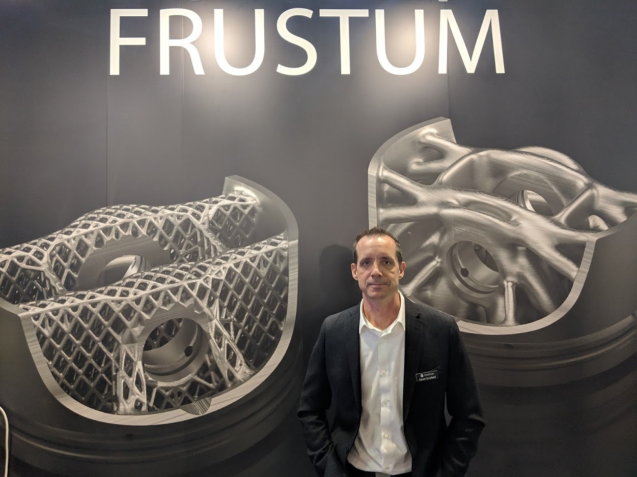 Kevin Scofield, VP Technical Marketing, Frustum at formnext 2018 [Image: Fabbaloo]