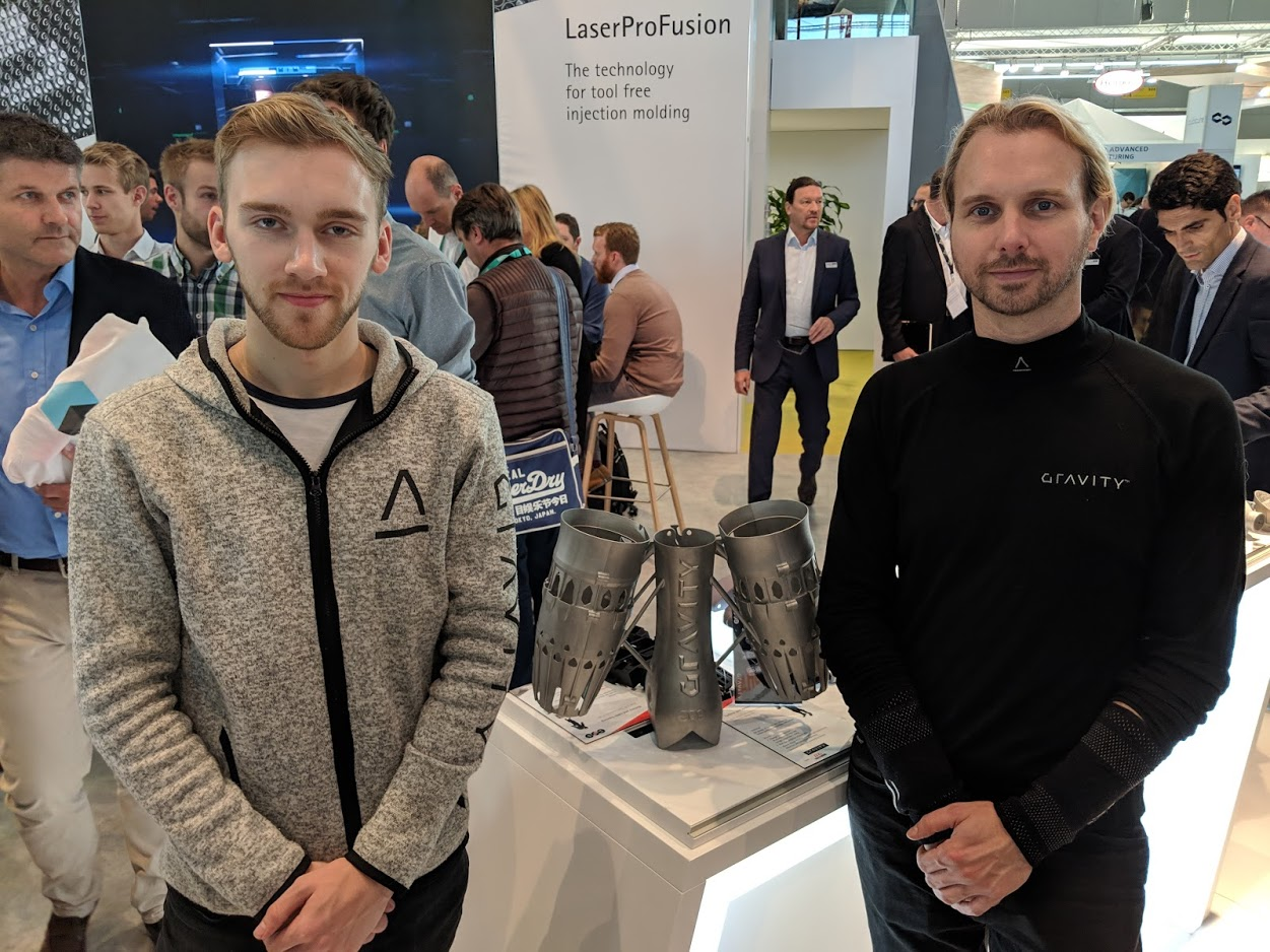 Gravity Industries and 3D printed jetpack components at formnext 2018 [Image: Fabbaloo]