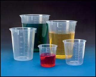 Polypropylene beakers [Source:  BMP ]