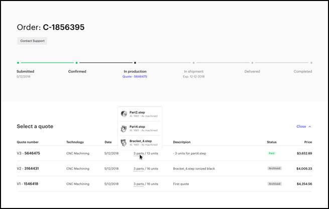 Sample 3D Hubs order interface [Source: 3D Hubs ]