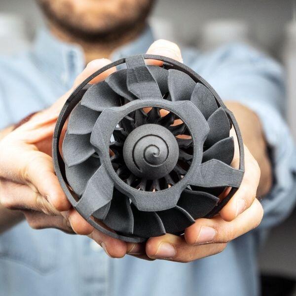 3D printed nylon turbine [Source: Sinterit]