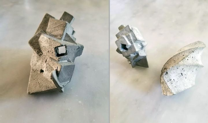 Complex concrete objects cast with two different soluble support materials [Source: Jacob Blitzer]