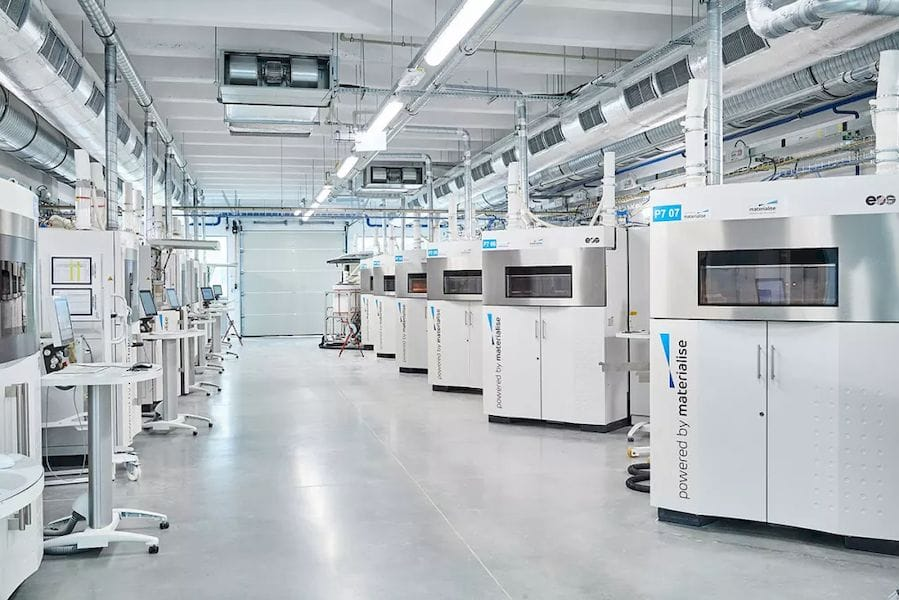 Powder Bed Fusion machines located at Materialise's 3D printing facilities. [Source: Materialise]