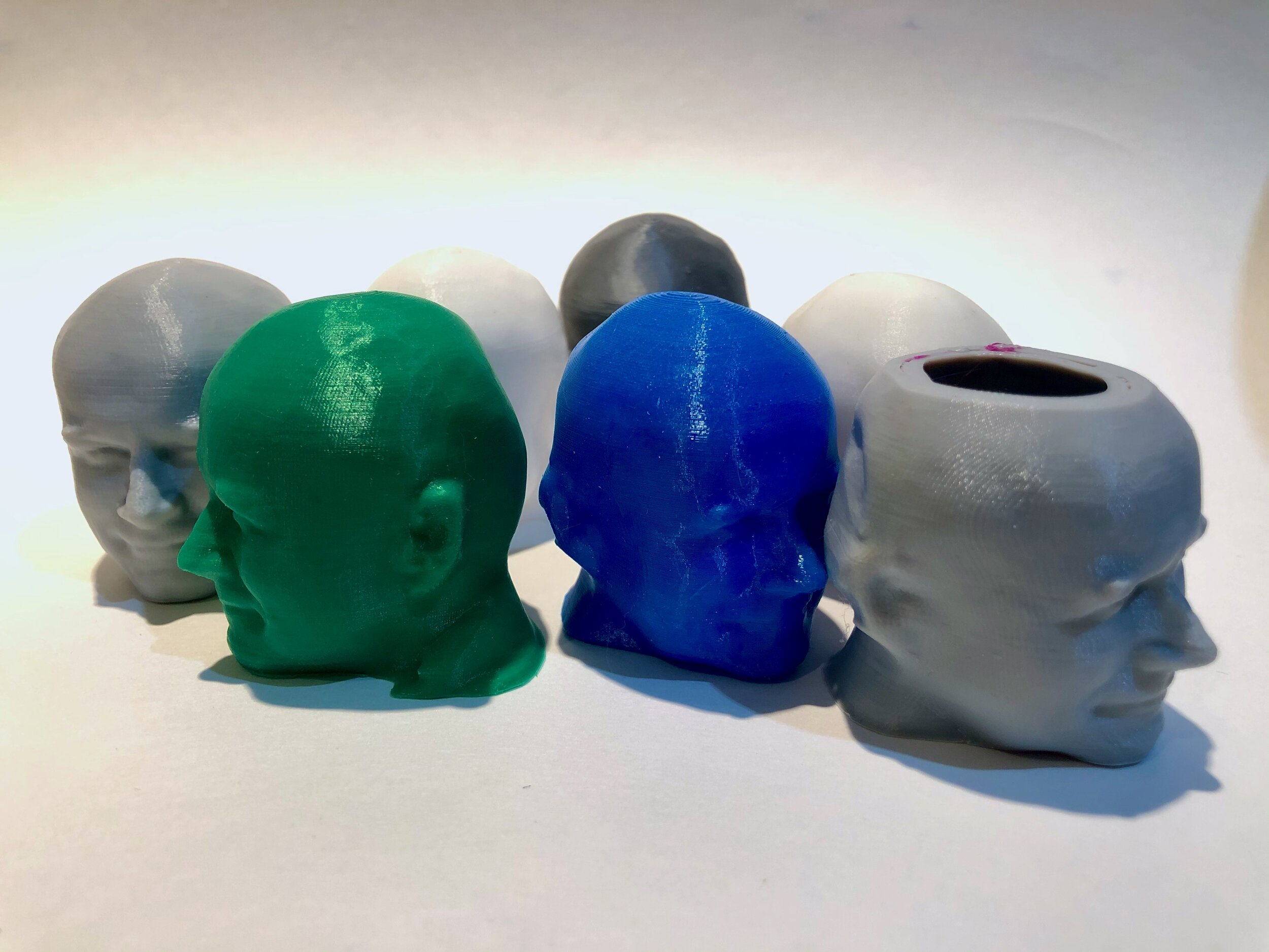 """Some of my test """"Robert"""" heads for 3D printer calibration [Source: Fabbaloo]"""