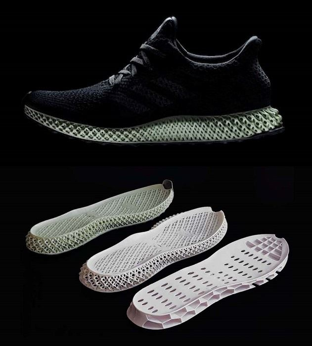 """""""Here is an example of what I mean by 'Good artists copy. Great artists steal'. On the bottom you see an injection molded variant of the Adidas Hypercraft 4D midsoles. Production costs are perhaps $1. If the Asian variant boosts better performance, is cheaper and faster to make, you be the judge what this means.  Personally I just love the Asians, because with limited funds and resources, they always get creative and find simple ways for improvements. Thus in a sense, you don't always need a spacecraft for buying milk, when you can just walk to the store,"""" says Janne."""