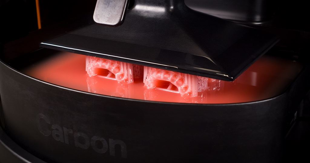 DLS production of denture pieces with Dentsply Sirona's new material [Image: Carbon]