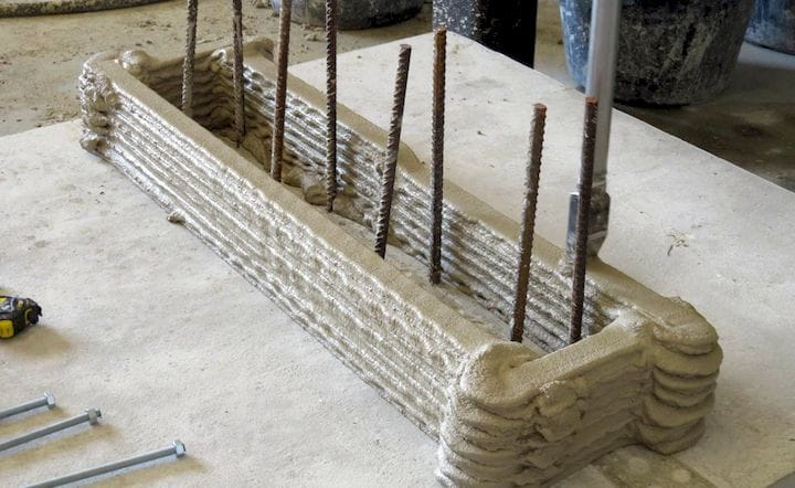 The CyBe Hejimans company places rebar segments inside 3D printed formwork and later infills the printed object. [Source:  CyBe ]