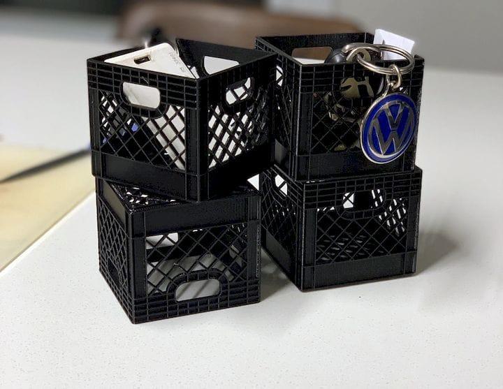 Miniature 3D printed milk crates [Source: Reddit]