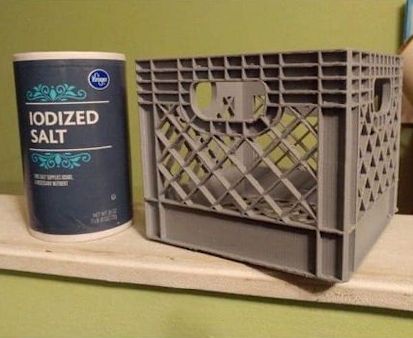 Miniature 3D printed milk crates [Source: Thingiverse]