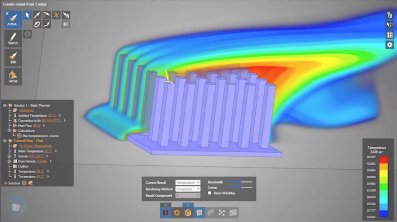 Real time fluid flow simulation in ANSYS Discovery Live