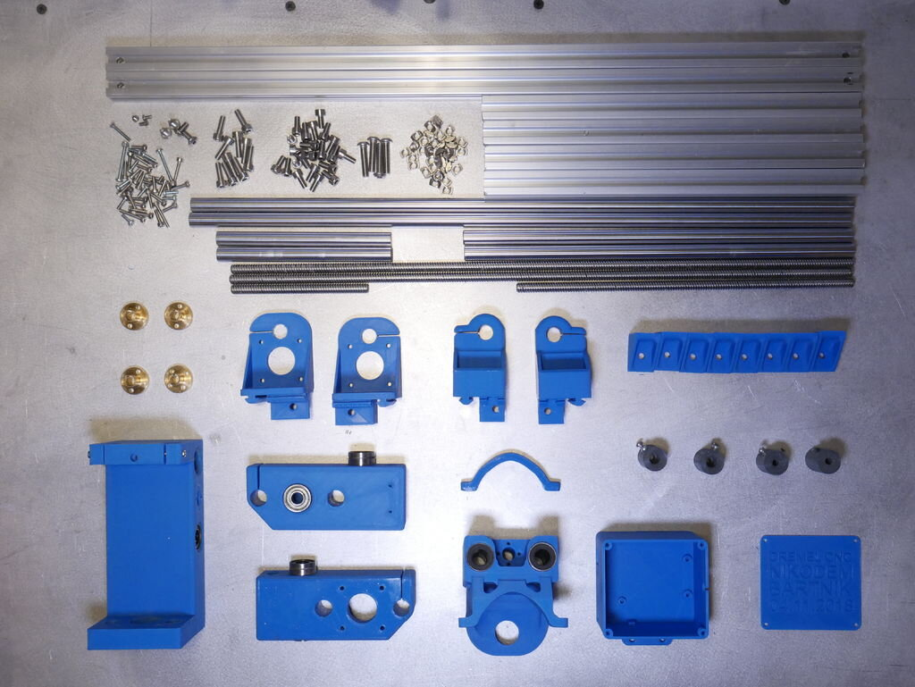 Many of the parts required to assemble the Dremel CNC [Source: Instructables]
