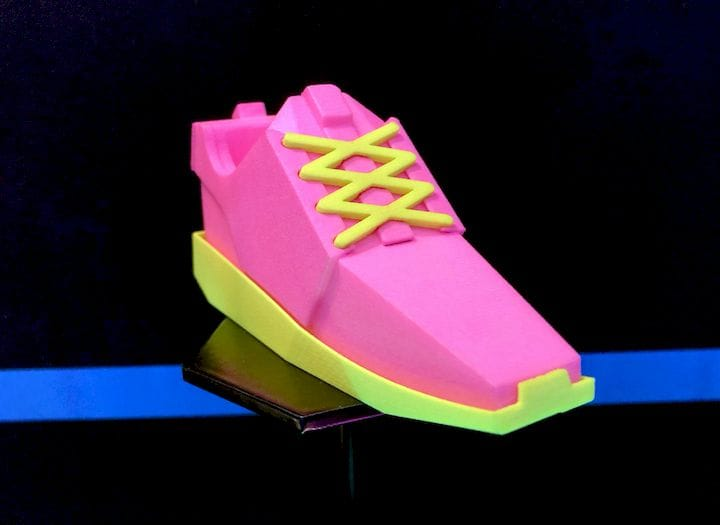 A neon colored 3D print made by DyeMansion [Source: Fabbaloo]