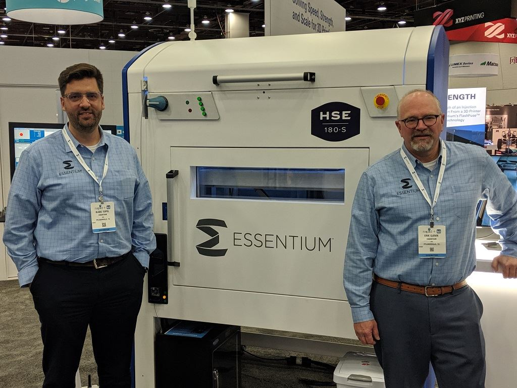 Essentium Co-Founders with the HSE 180•S: CEO Blake Teipel (left) and CPO Erik Gjøvik (right, named in the lawsuit from Jabil) [Image: Fabbaloo]