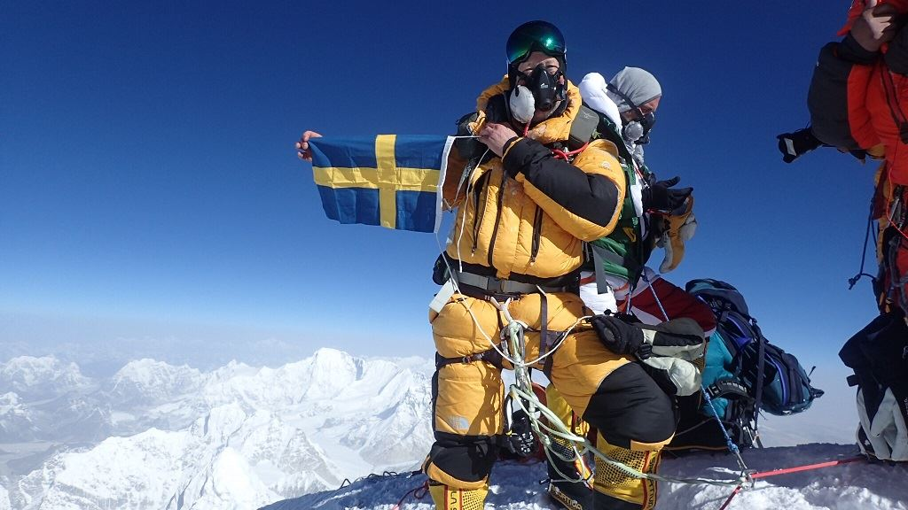 Lindwall at the summit of Mount Everest [Image: Bjorn Adventure]