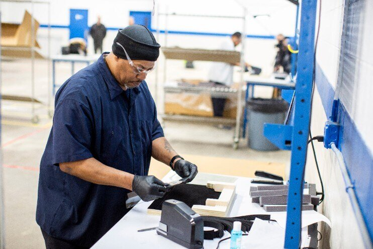 Operators and assemblers assemble medical face shields. Ford Motor Company, in cooperation with the UAW, will assemble more than 100,000 critically needed plastic face shields per week at a Ford manufacturing site to help medical professionals, factory workers and store clerks. [Source: Ford Motor Company]
