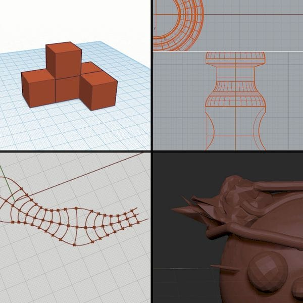 Four kinds of 3D model creation tools