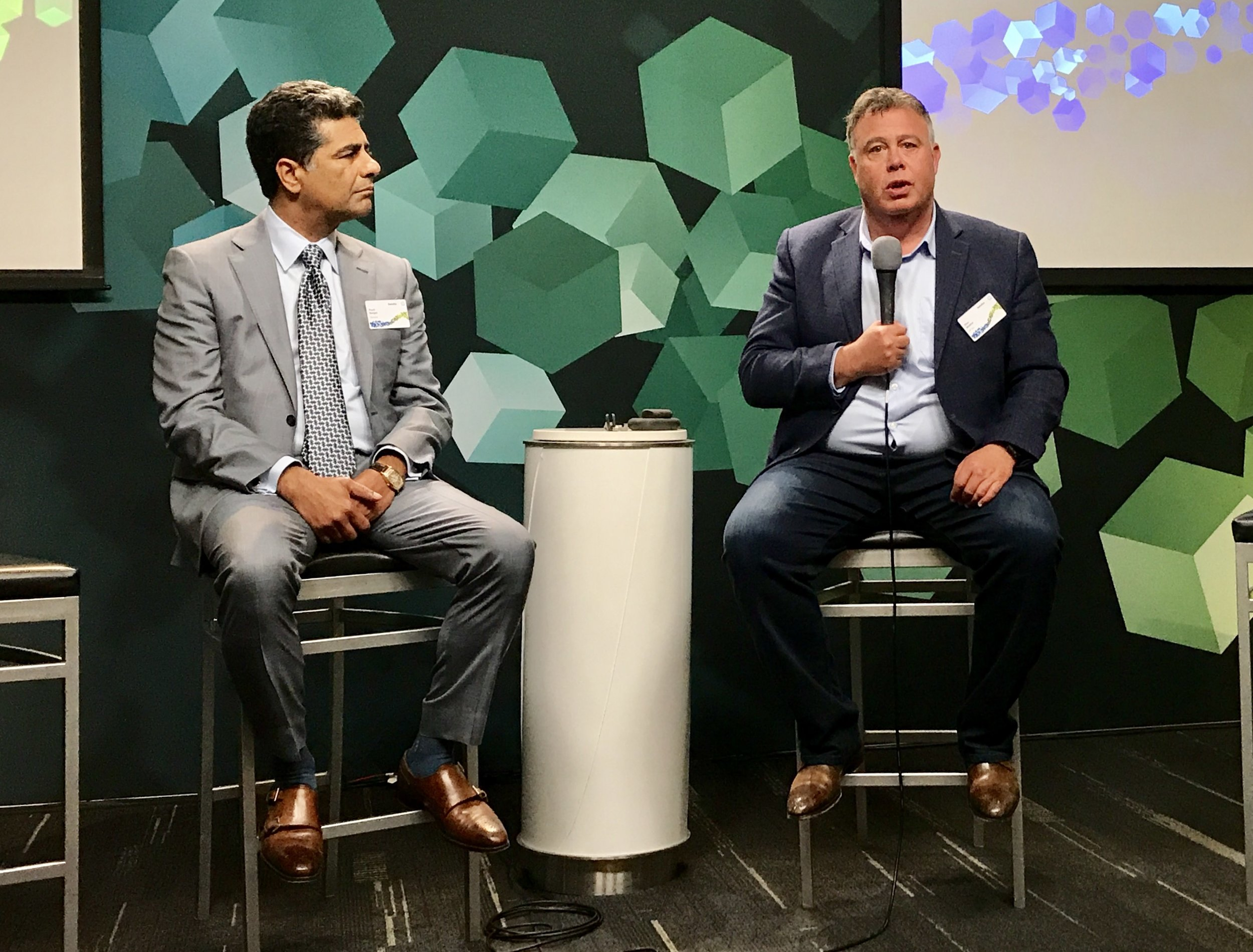 Deloitte CEO Punit Renjen talks with HP CEO Dion Weisler