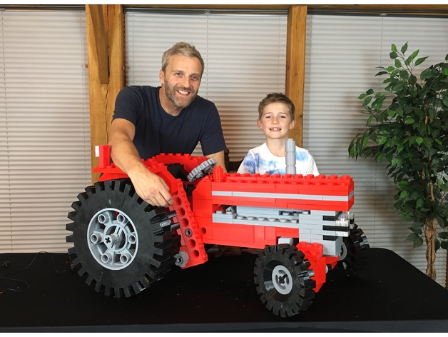 A Giant, Festive 3D Printed LEGO Tractor