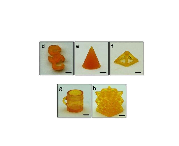 Sample 3D prints using a self-healing elastomer [Source: Nature]