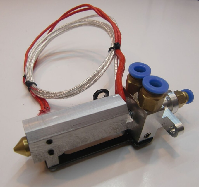 The I3D Innovation hot end, part of their high performance extrusion system