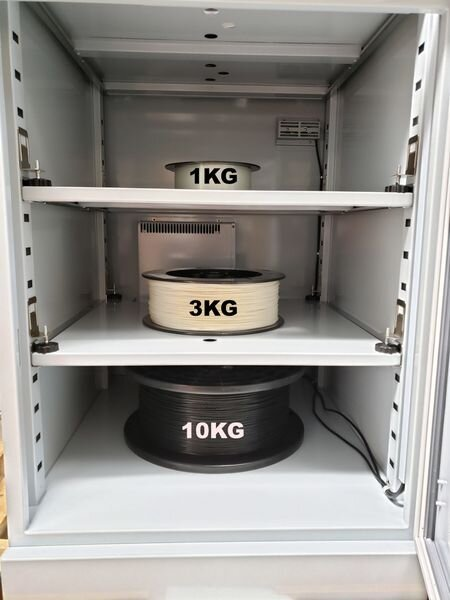 The PolyDry storage system has three shelves for 3D printer filament spools [Source: Filaments.ca]