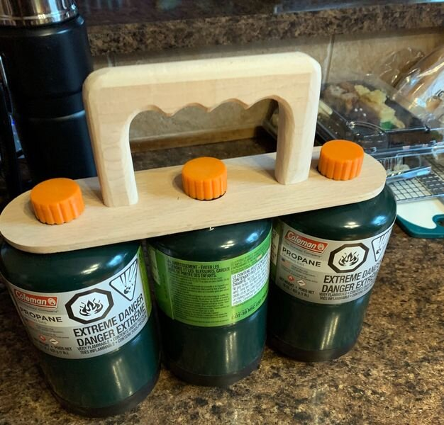 A 3-bottle propane carrier using 3D printed caps [Source: Morgan Fiks]