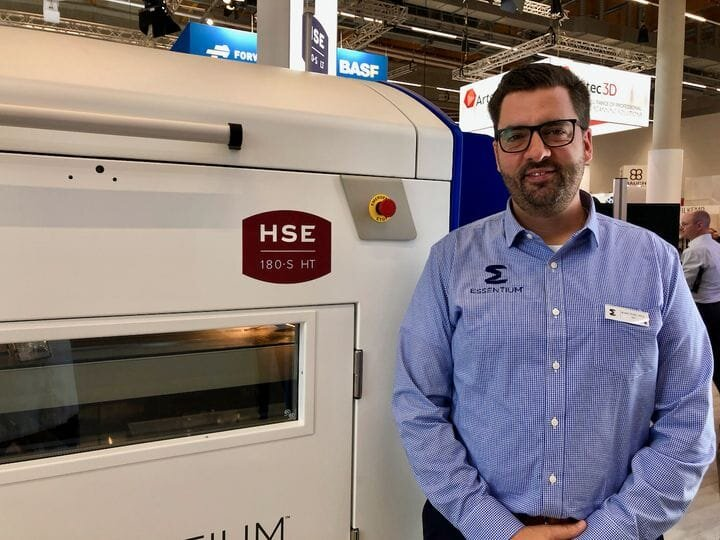 Essentium's Blake Teipel with one of their HSE 3D printers [Source: Fabbaloo]