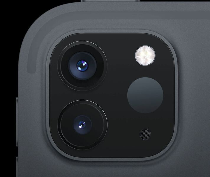 Detail of the new iPad Pro, showing the two imaging cameras and the new LiDAR sensor [Source: Apple]