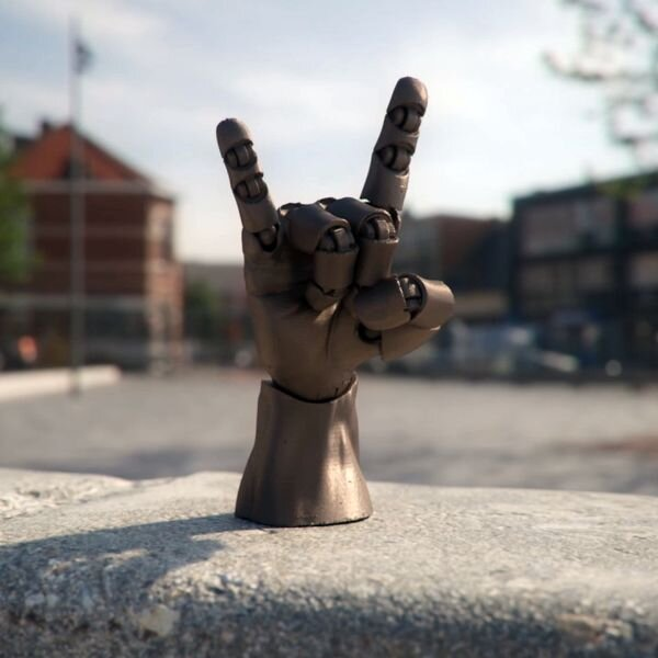 3D printed Articulated Poseable Hand signalling to us [Source: MyMiniFactory]