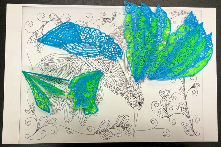 One of Katherine Bialek's amazing 3D pen artworks in progress, with original design drawing [Source: Fabbaloo]