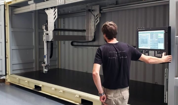 The MilleBot, a 3D printer inside a shipping container [Source: Mille]