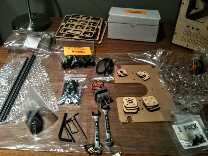 Some of the many parts required to build an early desktop 3D printer [Source: Fabbaloo]
