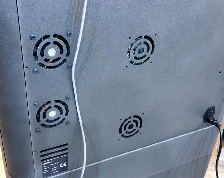 Vents at the rear of the Loop Pro 3D printer showing the sophisticated heating and filtration systems [Source: Fabbaloo]
