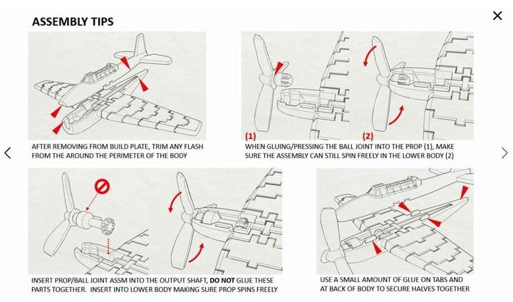 Instructions for the 3D printed flappy wing aircraft model [Source: Prusa Printers]