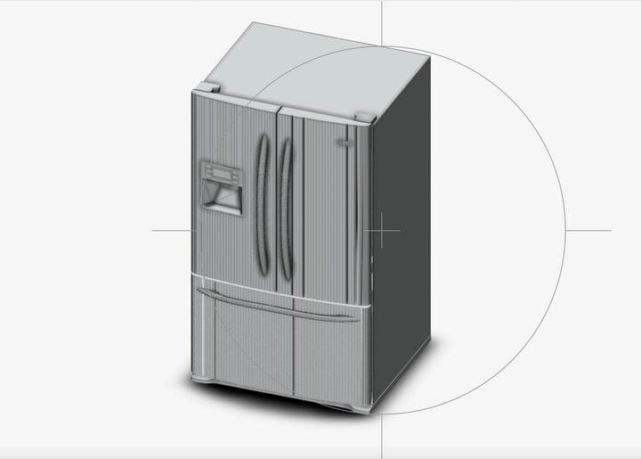 The downloaded 3D model of a GE refrigerator [Source: Fabbaloo]