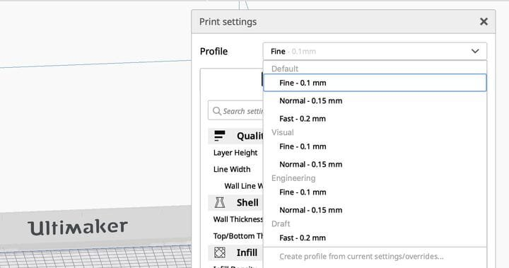 A glimpse of the new Intent Profiles in Ultimaker Cura 4.4.0 [Source: Fabbaloo]