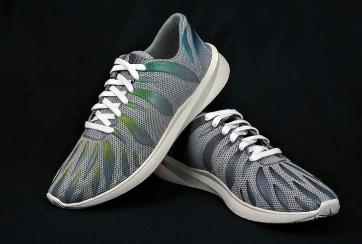 Shoes with 3D-printed uppers. (Image courtesy of Voxel8.)